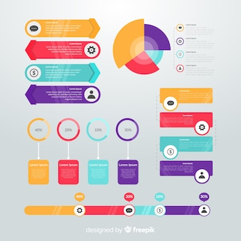 Flat design infographic element collection