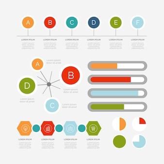 Плоский дизайн инфографики элементы коллекции