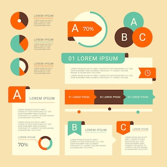 Flat design infographic elements with retro colors