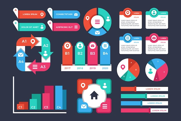Flat design infographic elements