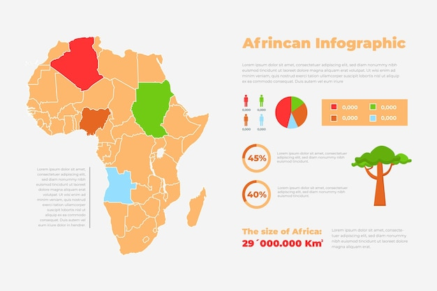 Flat design infographic map of africa and tree