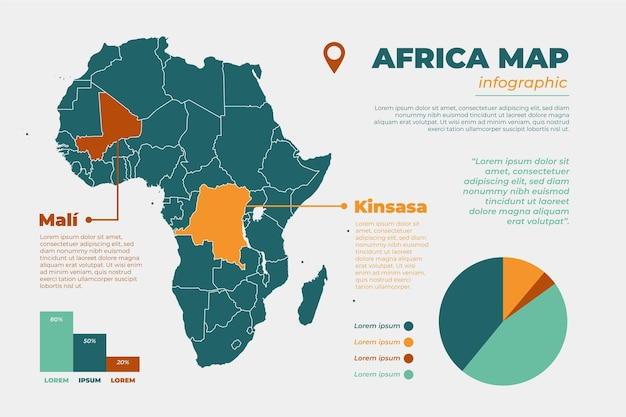 Flat design infographic map of africa with pie chart