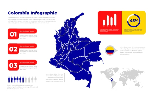 Flat design infographic map of colombia