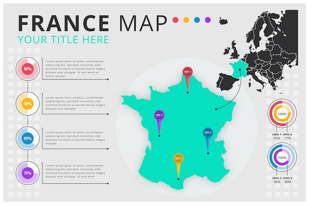 Flat design infographic map of france