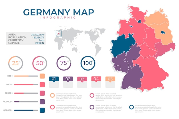 Flat design infographic map of germany
