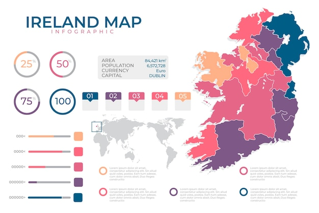 Flat design infographic map of ireland