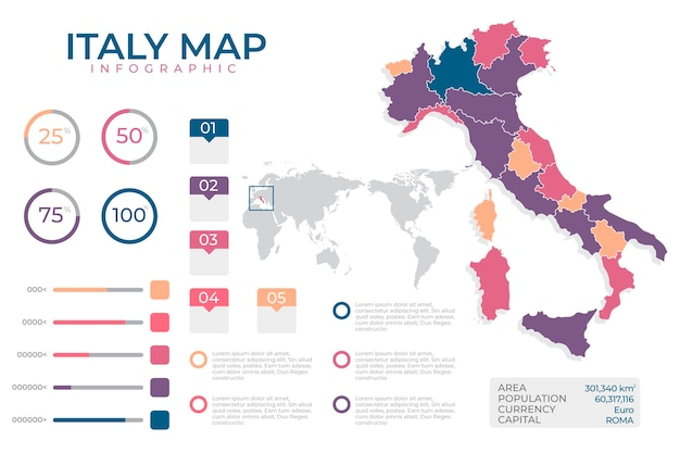 Flat design infographic map of italy