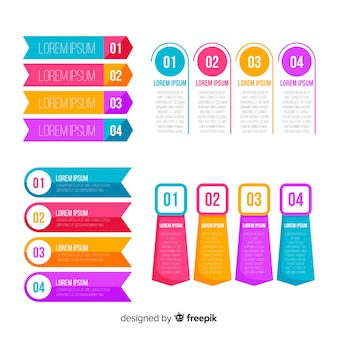 Flat design infographic steps