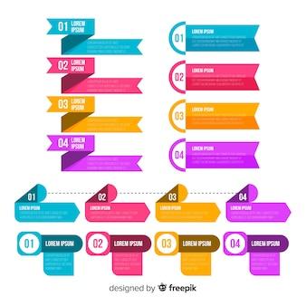 Flat design infographic steps