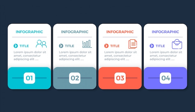 Flat design infographic with 4 options