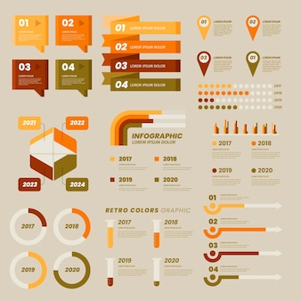 Flat design infographic with retro colors
