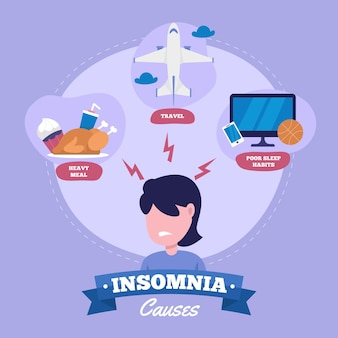 Flat design insomnia causes set