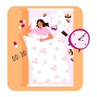 ベッドの中で女性とフラットデザイン不眠症の概念