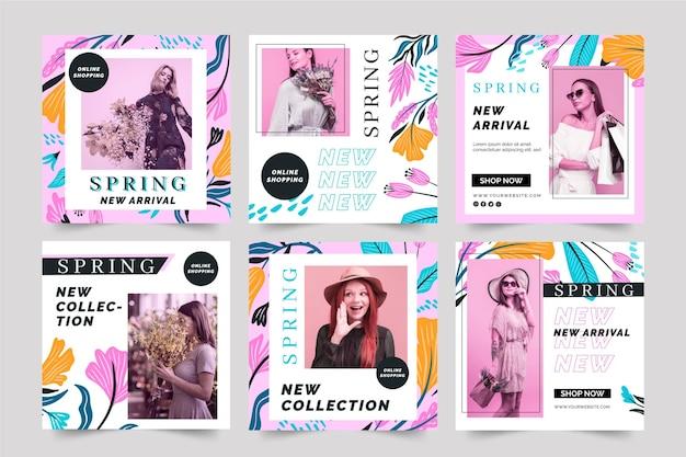 플랫 디자인 인스 타 그램 포스트 봄 판매 템플릿