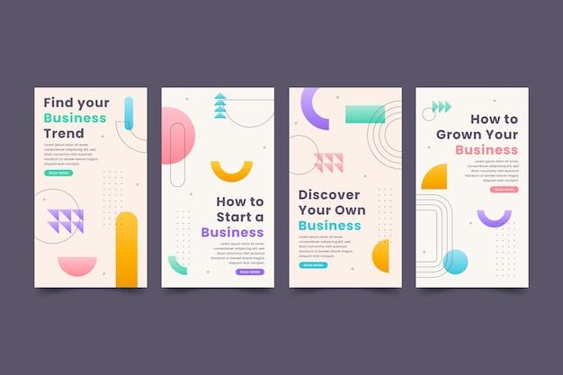 Collezione di storie instagram design piatto