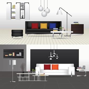 フラットデザインインテリアリビングルームとインテリア家具ベクトル図 Premiumベクター