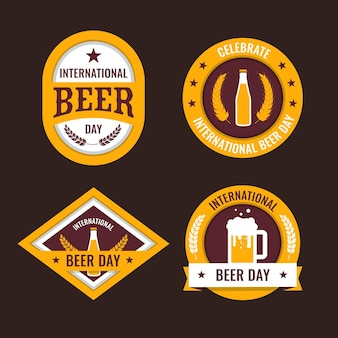 Flat design international beer day badges collection