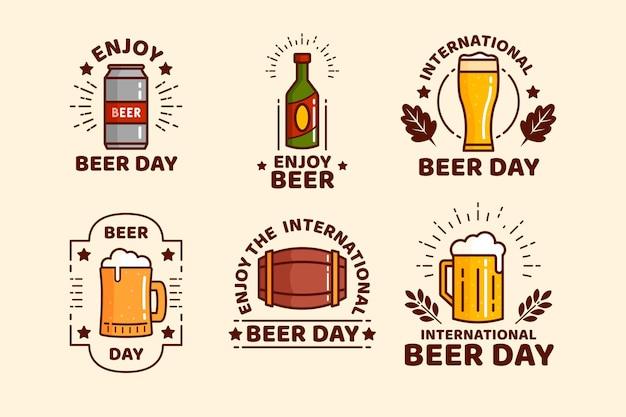 Flat design international beer day badges collection