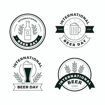 Flat design international beer day badges