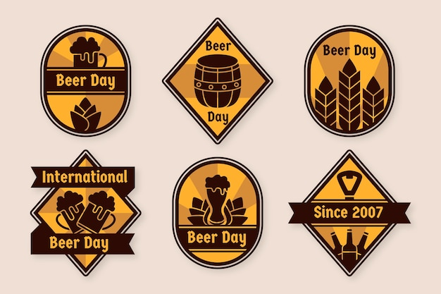 フラットなデザインの国際的なビールの日バッジ