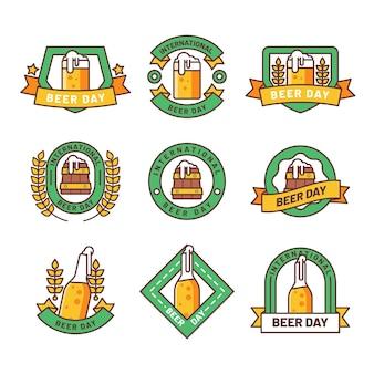 Flat design international beer day badges