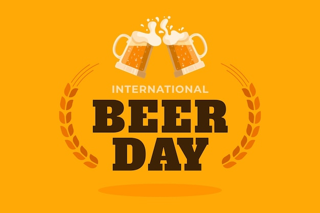 Flat design international beer day concept