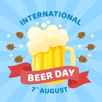Flat design international beer day concept