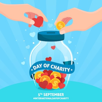 Flat design international day of charity concept
