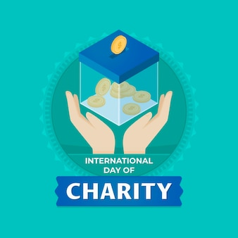 Flat design international day of charity event
