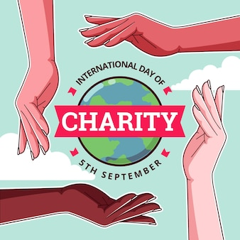 Flat design international day of charity style