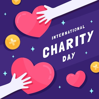 Flat design international day of charity with hearts and hands