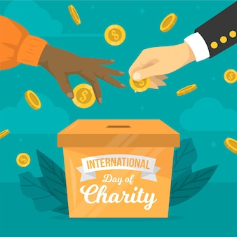Flat design international day of charity