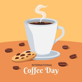 Flat design international day of coffee and cookie