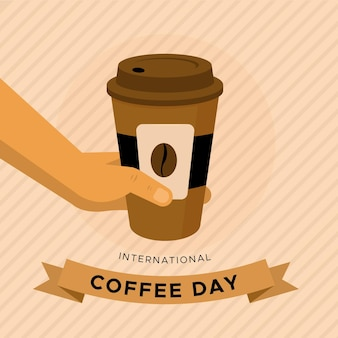 Flat design international day of coffee with to go cup