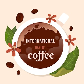 Flat design international day of coffee