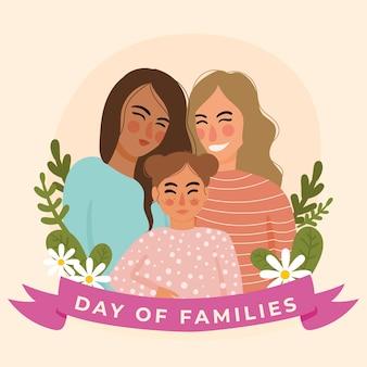 Flat design international day of families celebration