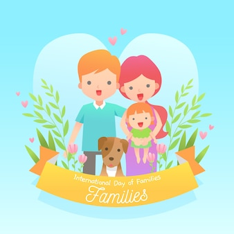 Flat design international day of families event