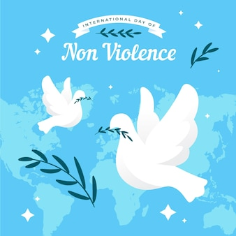 Flat design international day of non-violence doves