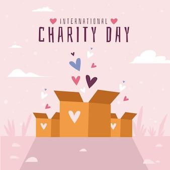 자선 배경의 평면 디자인 국제 날
