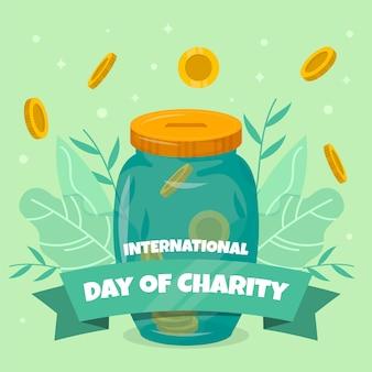 慈善の背景のフラットなデザイン国際デー