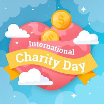Плоский дизайн международного дня благотворительного представительства