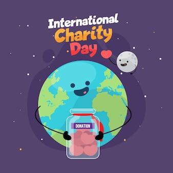 Плоский дизайн международного дня благотворительной темы