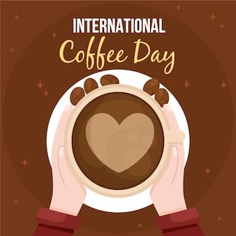 コーヒーの背景のフラットデザイン国際デー