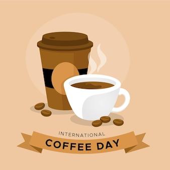 Плоский дизайн международный день кофе с чашкой