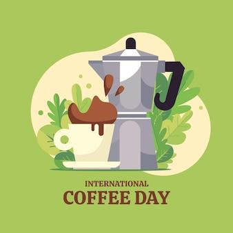フレンチプレスのカフェティエールとコーヒーのフラットなデザインの国際デー