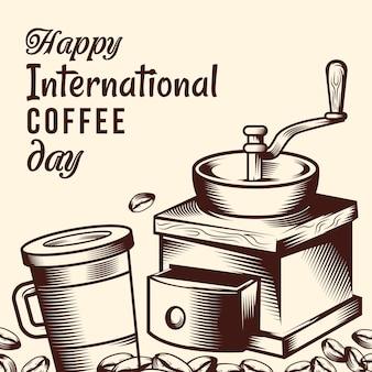 Плоский дизайн международный день кофе с кофемолкой