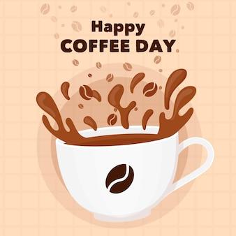 Плоский дизайн международный день кофе с кружкой