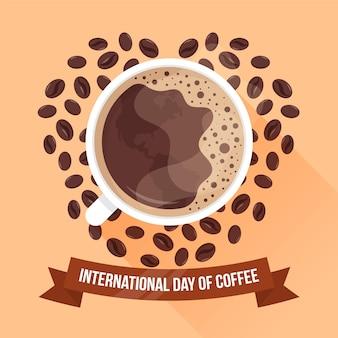 コーヒーのフラットデザイン国際デー