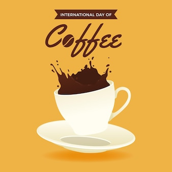 Международный день кофе в плоском дизайне