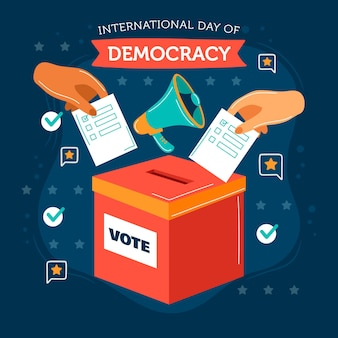 Плоский дизайн международный день демократии с руками и урной для голосования